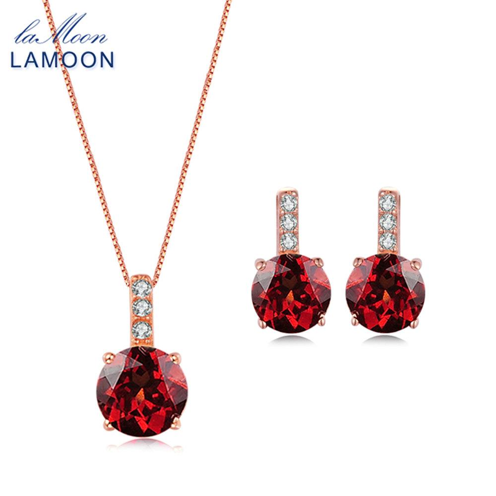 LAMOON Trendy 2ct Natural Red Garnet 925 Sterling Silver Jewelry Sets S925 Chain Pendant Necklace+Earrings for women V014-5 trendy red lip embellished black pendant faux leather sweater chain necklace for women