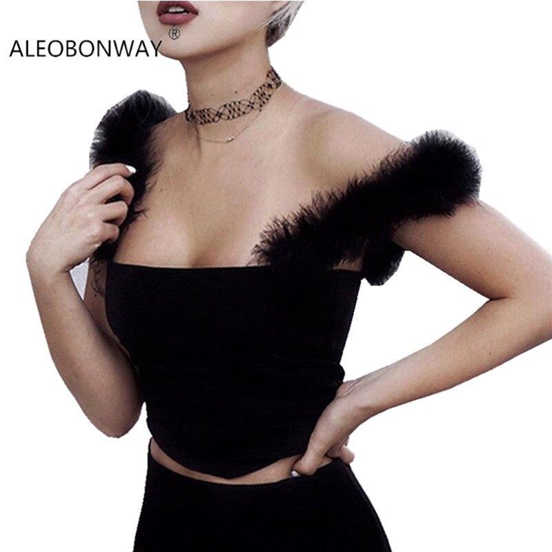 ALEOBONWAY New Casual Black Fur Women Crop Tops Sleeveless Sexy Women Camis Slim Backless Tank Tops Women Vest Fashion CL373