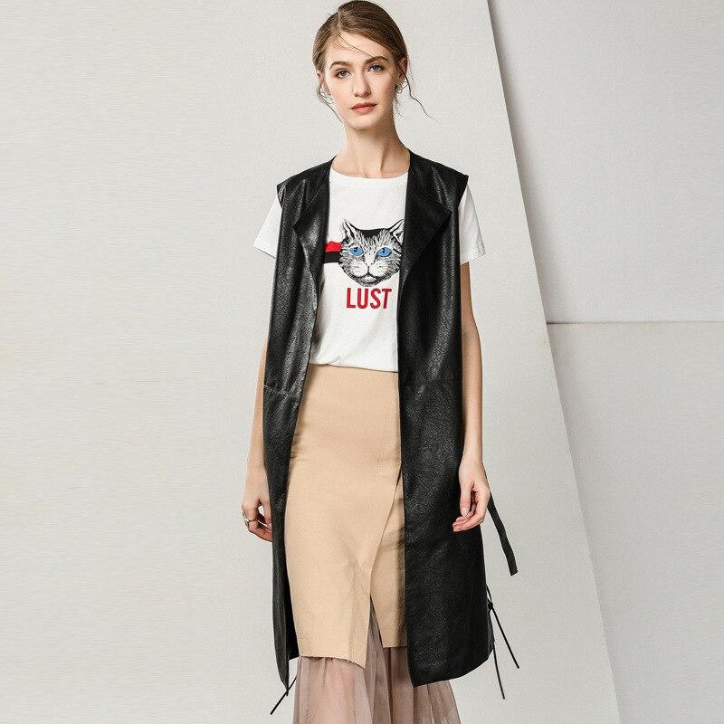 PU Leather Vest For Women With Belt Sleeveless Women's Vest Long 2018 Cardigans Femme S M Outwear Femme Overcoats Black Beige