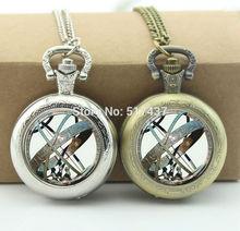 Astronomical Sundial Globe Pocket Watch Glass Locket Necklace Antique Pocket Watch Necklace