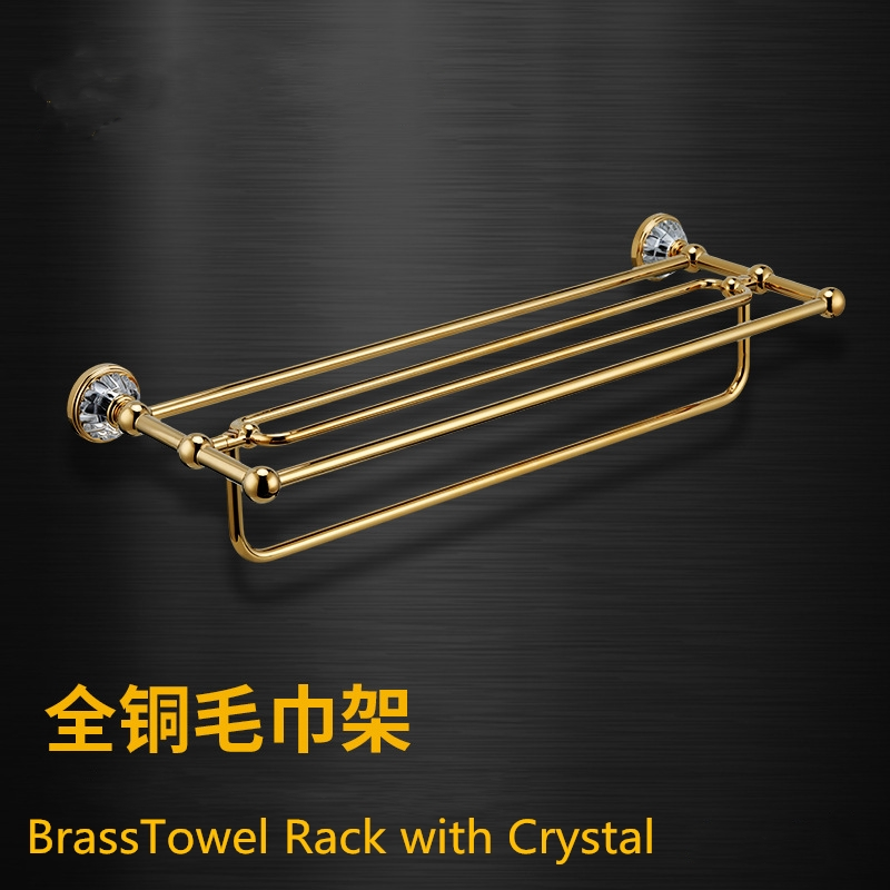Bathroom Hardware Accessories Polish Home& Garden A Great Variety Of Goods 2019 Latest Design New 24-inch Gold Crystal Bathroom Shelves With Towel Bar,towel Rack Home Improvement Bathroom Shelves