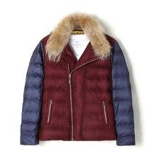 Aismz Мужская мода меховой воротник для отдыха высокое качество casaco masculino толстые теплые зимние белые куртки-пуховики на утином пуху ES-8036