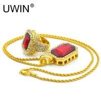 UWIN Hip Hop Men Set Jóias da Cor do Ouro Para Fora Congelado Praça de strass Cristal Anéis Com Cristal Vermelho Conjunto Colar de Pingente 2 pcs