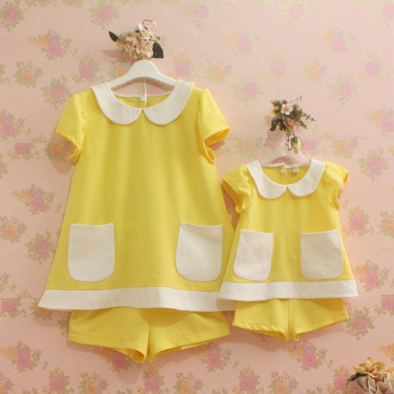 Special price Summer clothes Chiffon Baby girl and Mother matching sets children clothing Female Woman kids children clothing mother