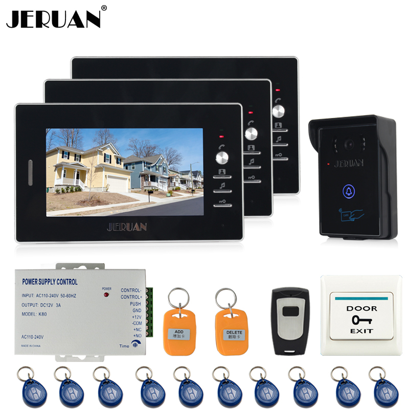 JERUAN NEW 7`` Video Intercom Entry Door Phone System 3 monitors+700TVL Touch Key Waterproof RFID Access Camera + Remote control jeruan apartment 4 3 video door phone intercom system kit 2 monitor hd camera rfid entry access control 2 remote control