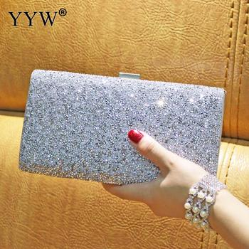Rhinestone Clutch Bag Women Luxury Gillter Evening Party Purse Box Bag Diamond Female Clutch Crystal Day Wallet Wedding Purse green crystal diamond flower floral purse fashion wedding bridal hollow metal evening purses clutch bag case box handbag female