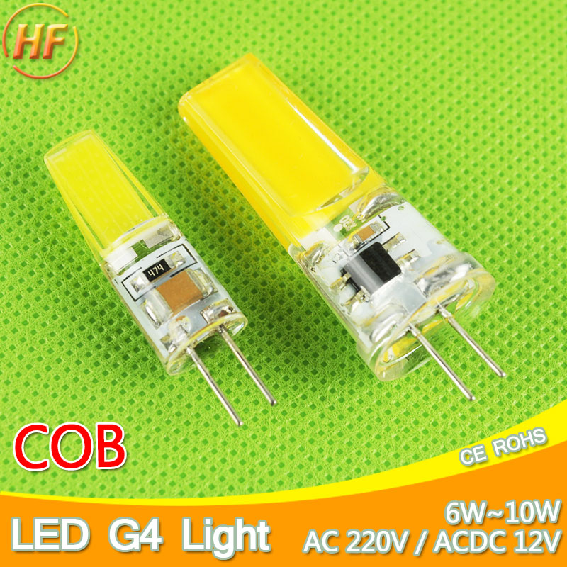 New G4 COB LED Bulb ACDC 12V 6W AC220V 6W 10W LED G4 lamp Crystal LED Light Bulb Lampada Lampara Bombilla Ampoule LED G4 3W 4W g4 4w 380lm 3000k ac 12v led cob car bulb cabinet dome light soft white