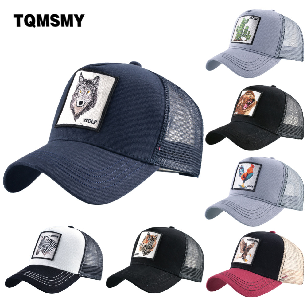 TQMSMY Summer Unisex Hip Hop Embroidered Animal Men Baseball Caps Women Breathable Mesh Snapback Hats Men's Trucker Hats Cap(China)