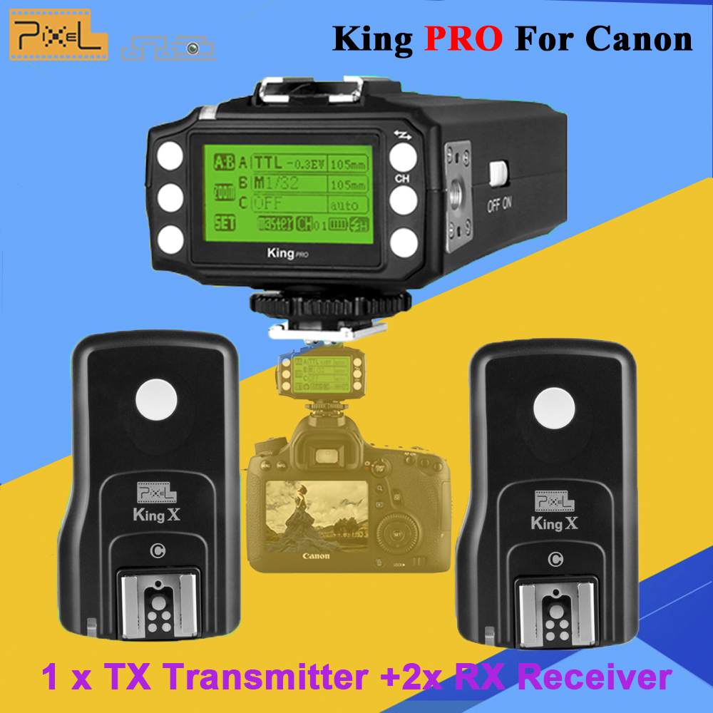 Pixel King Pro 2x Transceivers +1x Transmitter Set For Canon 1100D 5D3 DSLR Camera Wireless 2.4G TTL 1/8000S HSS Flash Trigger фрезы 2s 1 1 2 1 2 3 king size c zd 1 2 1 2 3