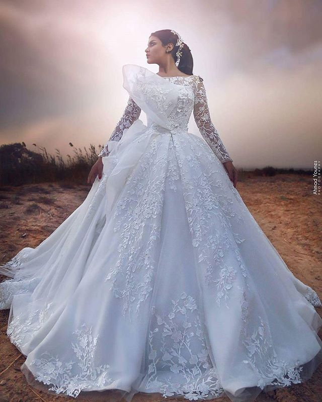 I Do I Do Wedding Gowns: 2019 Bateau Neck Ball Gown Lace Bow Wedding Dresses Long