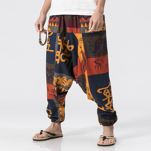 68cbf58b8 US Size 5XL Mens Loose Cotton Linen Casual Harem Pant Chinese Style Pattern  Male Fashion Low Crotch Trousers Joggers Pant