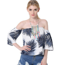 2017 fashion Summer cotton print T Shirt Women three quarter Slash Neck Strapless flare sleeve Plus Size T-shirt free shipping
