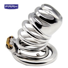 FRRK Anti-drop ring Chastity Device Male Stainless Steel Belt Openwork Cock Cage Metal Penis Ring Sex Products