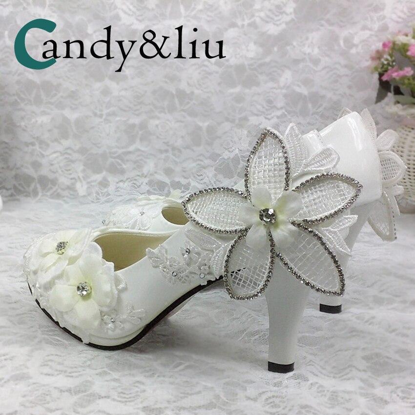 Blanc dentelle fleur mariage chaussures strass Cyrstal perlé Appliques Spike talon femmes pompes pour fête Banquet demoiselle d'honneur à la main
