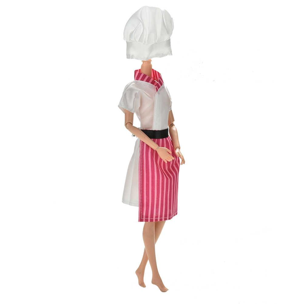 Ручной работы Cosply Костюм Одежда для шеф-поваров для девочек шапка для кукол для 1/6 BJD куклы Костюмы детские игрушки 1 компл. = 3 шт.