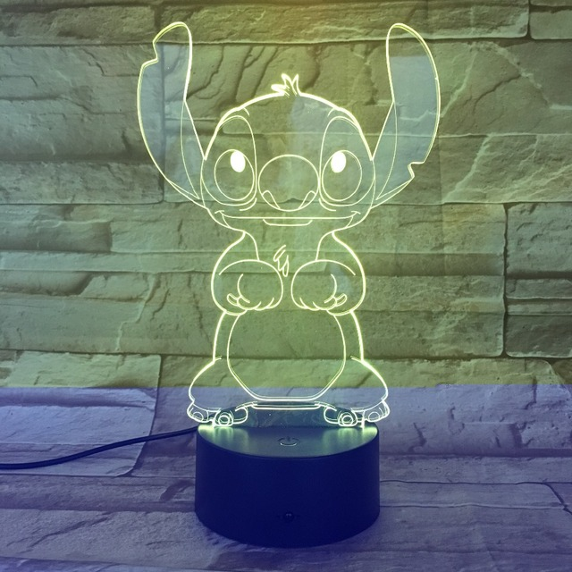 Cartoon Stitch 3D Lamp Bedroom Table Night Light Acrylic Panel USB Cable 7 Colors Change Touch Base Lamp Kids Gift 3D-812 3