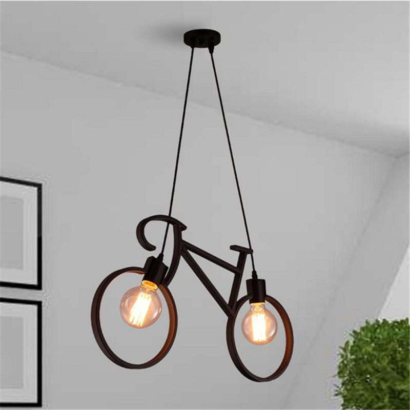 Retro Loft E27 Led Bulb <font><b>Light</b></font> Bicycle Shape Pendant <font><b>Light</b></font> Vintage Bike Droplight Indoor Lighting Fixture for home decoration