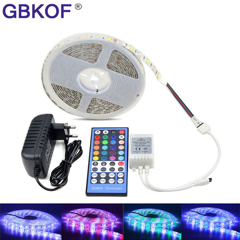 цена на SMD 5050 RGB LED Strip Waterproof DC 12V 5M RGBW RGBWW LED Strips Light Flexible with 3A Power and Remote Control set for room