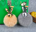 Leather Rabbit Toy Fluffy Fox Fur Ball Pom Pom Keychain Bags Hanger Charms Key Ring For Women Key Chain Porte Clef Fourrure f367