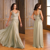 A Line V Neck Pleated Beaded Mother Of The Bride Dresses 2015 With Lace Cap Sleeves