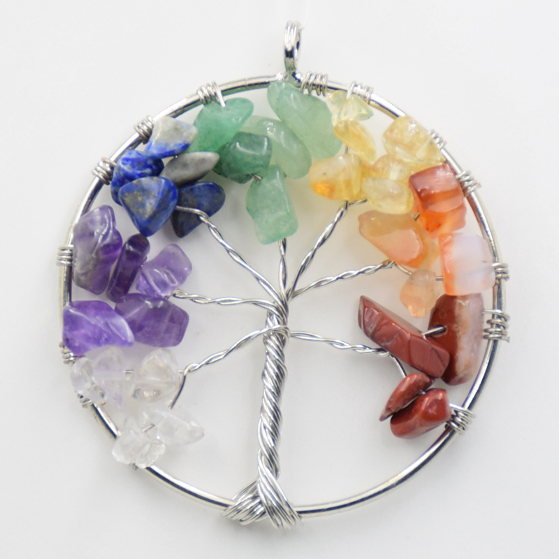 Classic Silver Plated 5cm Round Handmade Wire Tree of life 7 Charka Natural Stone Pendant for Women Necklace Charm Jewelry
