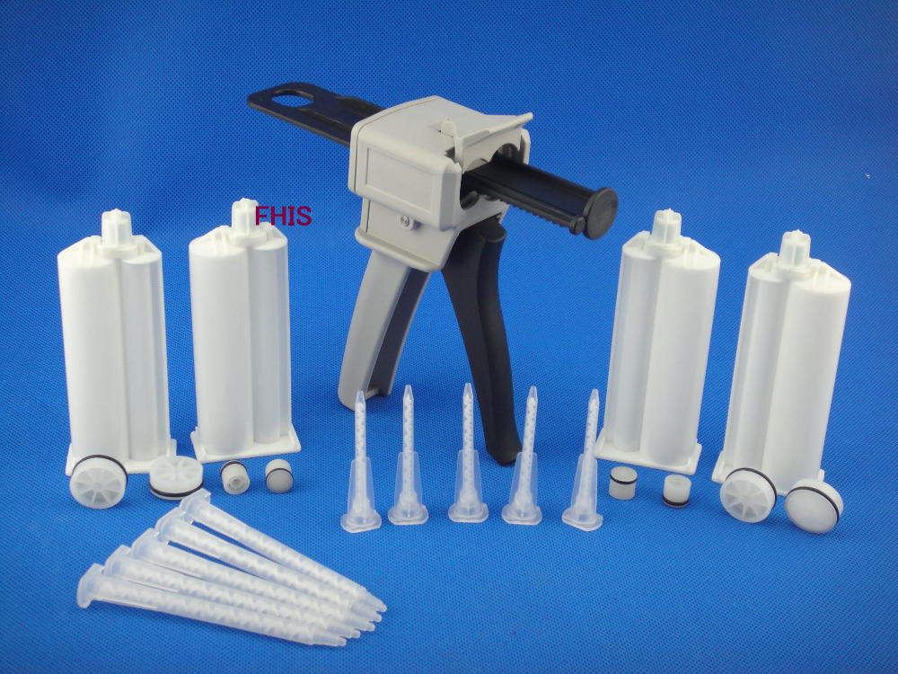 50ML4: 1 Manual AB Glue Gun & 4pcs 4: 1 Cones & Mixing Tube Silicone Glue Adhesive Bonding Extrusion Tool