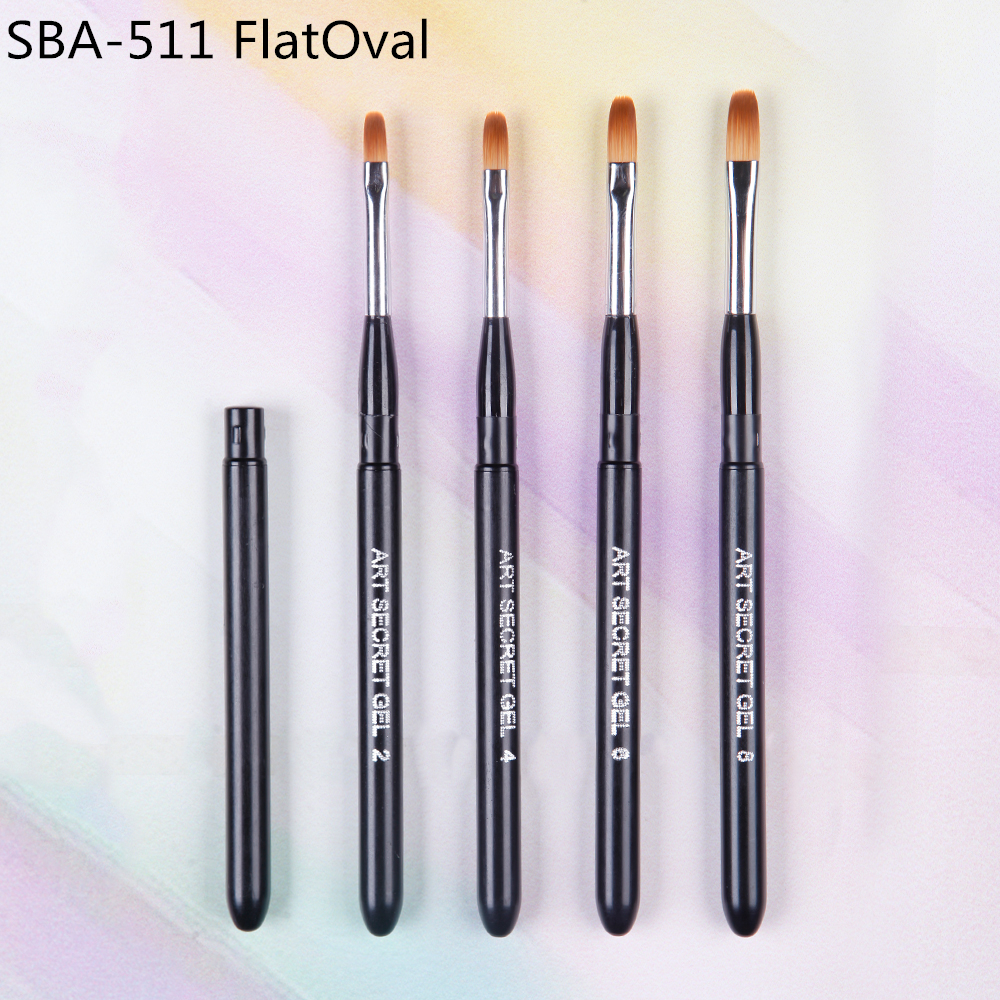 High Quality 1PC SBA-511 Flat-oval Taklon Hair Varnish Travel Paint Brushes For A Manicure Nail Art Design Gel