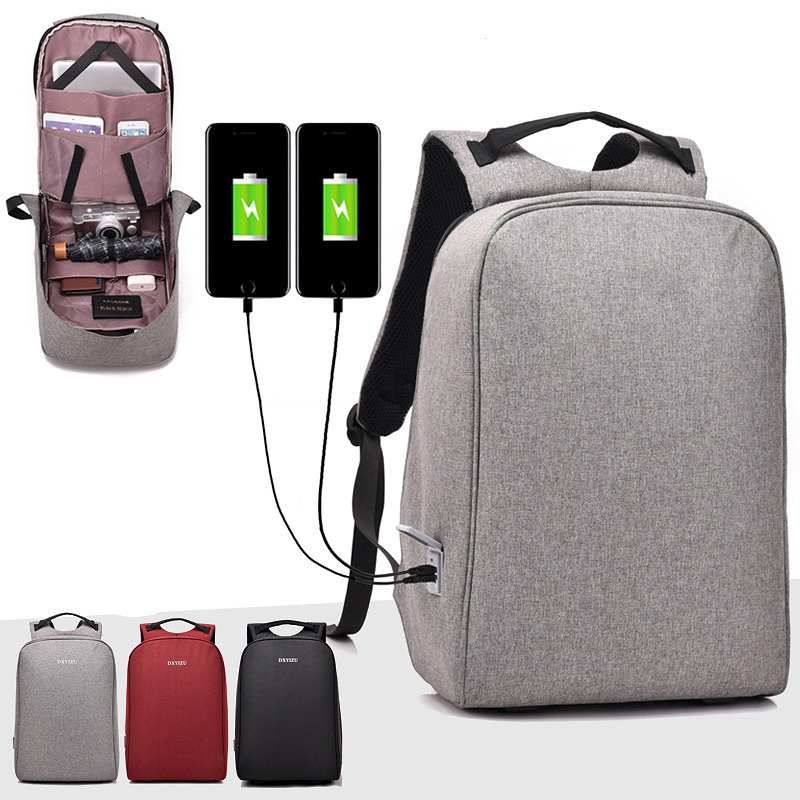 2018 Fashion canvas men backpack USB Charging Simple school bags male bags men big space laptop backpack anti theft women Casual fashion waterproof simple men backpack