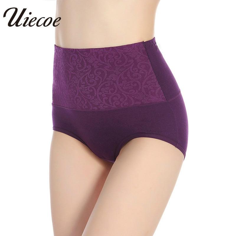 299fd7d47 UIECOE 95% Cotton Women panties High Waist Female Underwear Plus Size L-4XL  Intimates Sexy Emboridery Slim Ladies briefs ~ Hot Sale June 2019