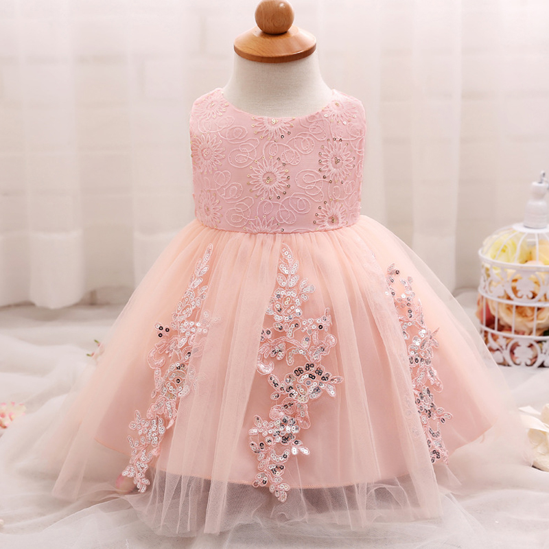 Us 1155 32 Offbaby Girls Dresses Sun Flower Newborn Clothes Sequins Cute Pearl Vestido Bebe Menina Christening Gown Wedding Roupa De Bebe In