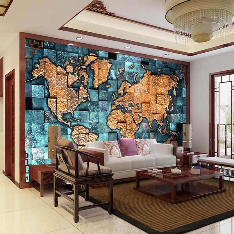 العرف أي حجم ثلاثية الأبعاد جدارية خلفية خريطة العالم ثلاثية الأبعاد الإغاثة غرفة المعيشة أريكة دراسة خلفية صور ورق حائط لوحات فنية للديكور المنزل