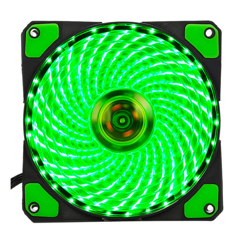 120mm Pc Computer 16db 33 Leds Case Fan Heatsink Cooler Cooling With Anti-vibration Rubber,12cm Fan,12vdc 3p Ide 4pin Green 100% High Quality Materials
