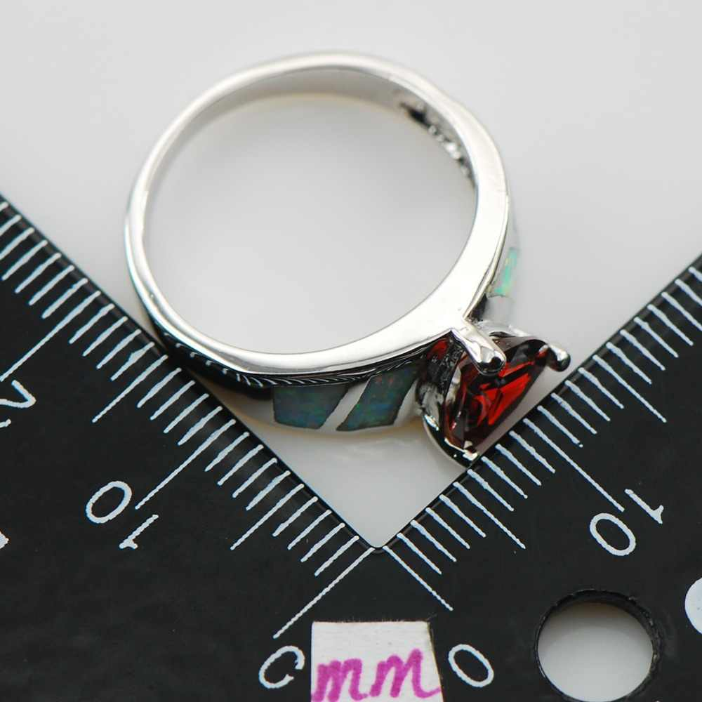 โกเมนสีขาวโอปอลแหวนเงิน925สเตอร์ลิงขนาด6 7 8 9 10 R1301