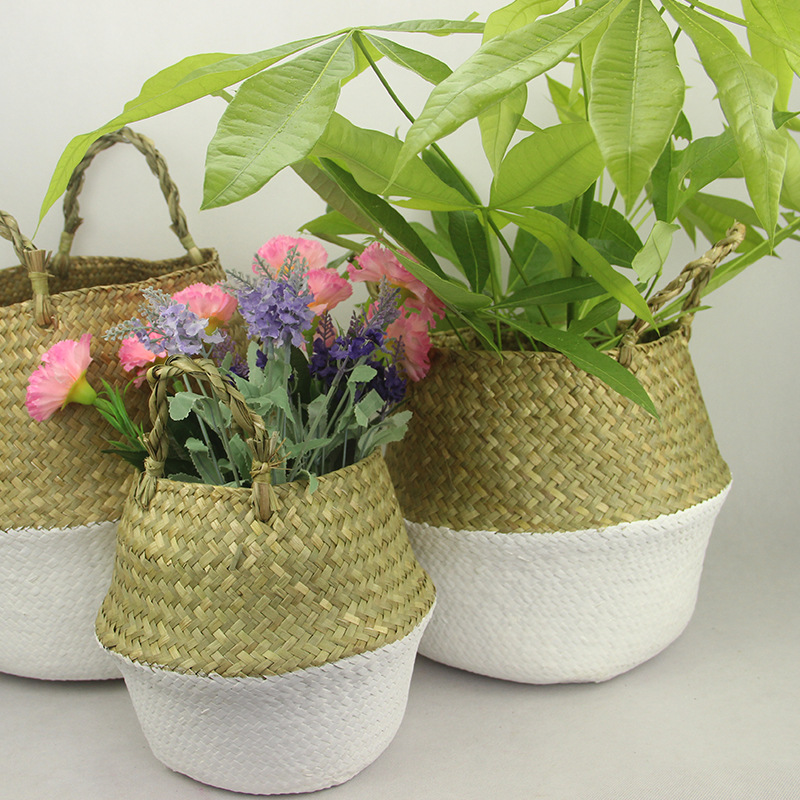 WHISM S/M/L Rattan Basket Straw Basket Foldable Flower Pot Wicker Storage Basket Woven Seagrass Basket Rattan Vase Organization