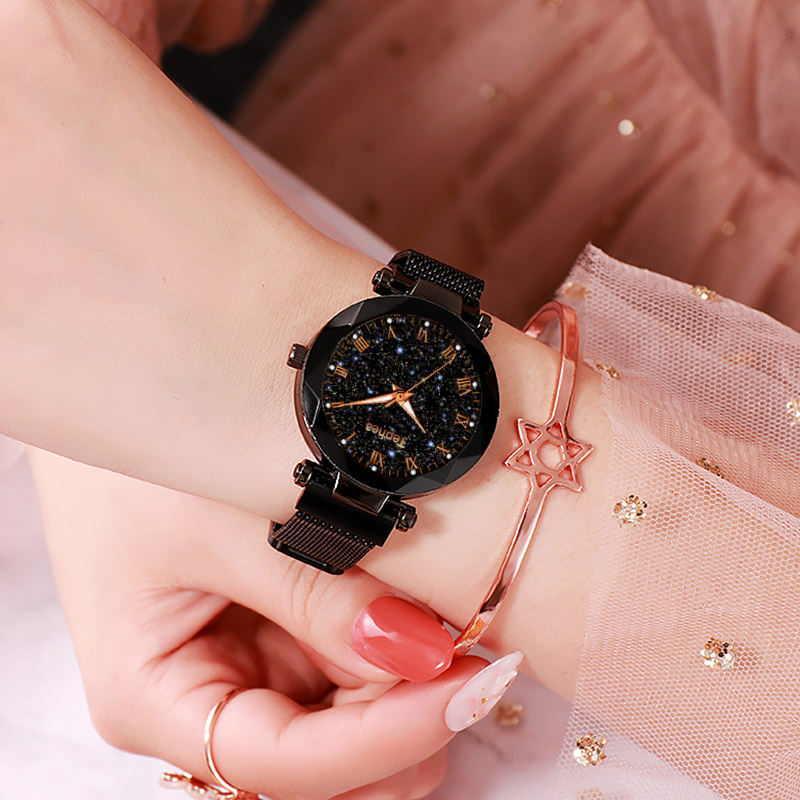 Fashion Women Watches Luxury Rose Gold Ladies Starry Sky Watch Magnetic Mesh Waterproof Female Wristwatch Relogio Feminino in Women 39 s Watches from Watches