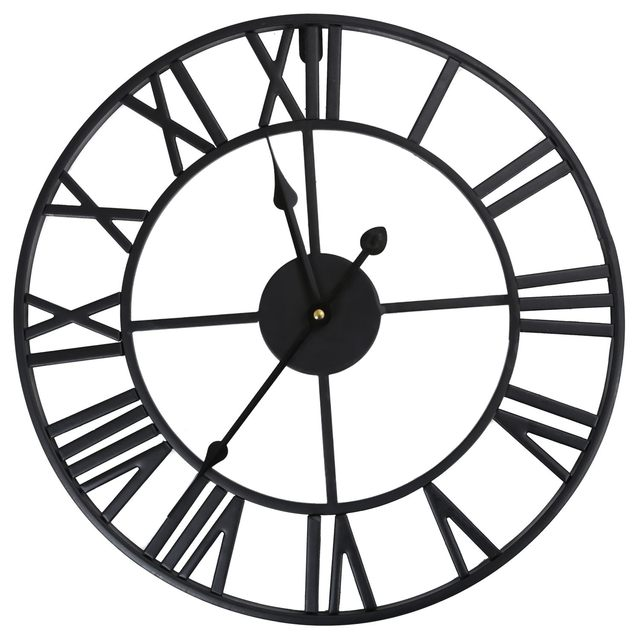679025f03475 HOT-LARGE OUTDOOR GARDEN WALL CLOCK BIG ROMAN NUMERALS GIANT OPEN FACE METAL