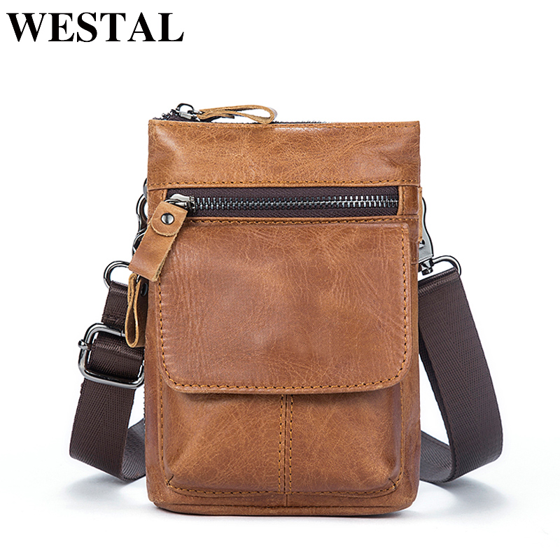 afd267ff2a WESTAL Genuine Leather Bag Men Bags Leather Belt Waist Pack Men Messenger  Bags Male Phone Small Flap Male Shoulder Crossbody Bag-in Crossbody Bags  from ...
