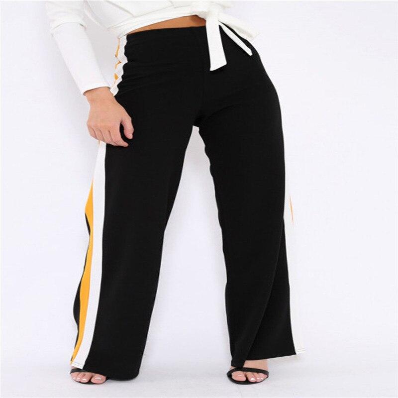 Women Fashion High Waist Straight   Wide     Leg   Striped Sports Trousers Chic Ladies Loose Slim Elastic Waist Cropped   Pants   Plus Size