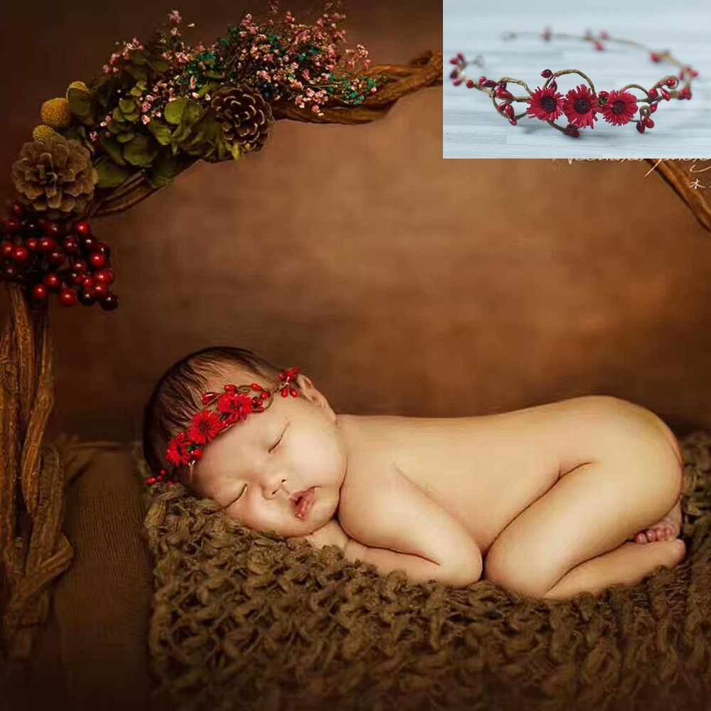 лучшая цена Red Newborn baby infant photography props accessories headbands, with flowers hair bands girl hair band GARLAND christmas gift