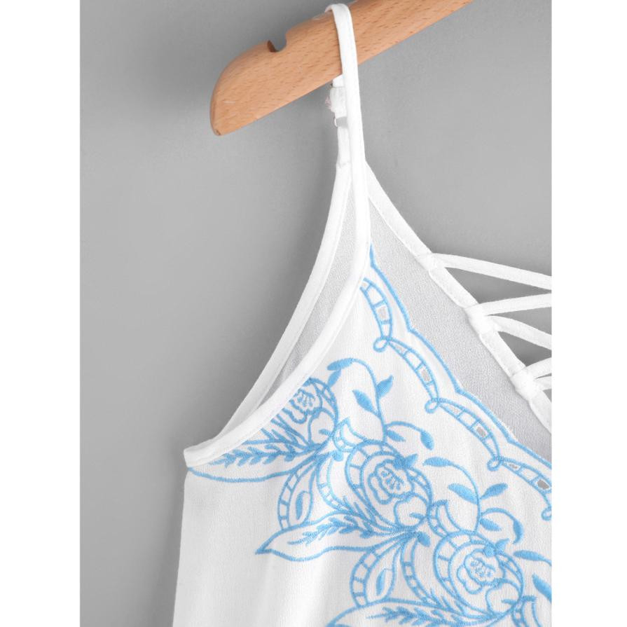 da00fae8832adf MUQGEW simple Women Tank Tops Flower Embroidered Strappy Cami Top S 2XL  solid sweet stylish floral print vest 2017-in Tank Tops from Women s  Clothing ...