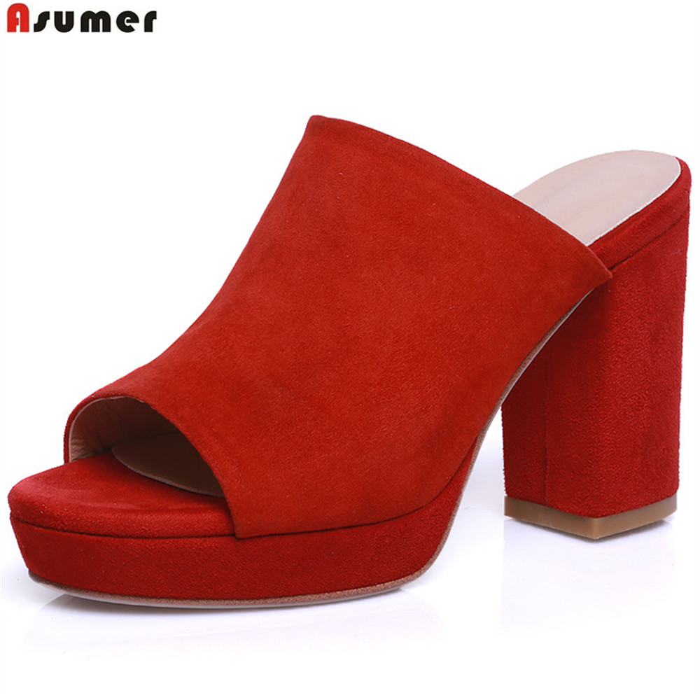 Asumer black red pink fashion summer shoes woman peep toe casual square heel platform ladies cow suede high heels sandals women sandals 2017 summer shoes woman flips flops gladiator wedges bohemia fashion rivet platform female ladies casual shoes