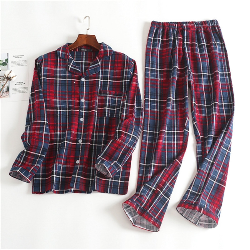Male Autumn&winter Long-sleeved Trousers Pajamas Suit Red Plaid Flannel Sleepwear Velvet Soft  Casual Clothing Set  100% Cotton