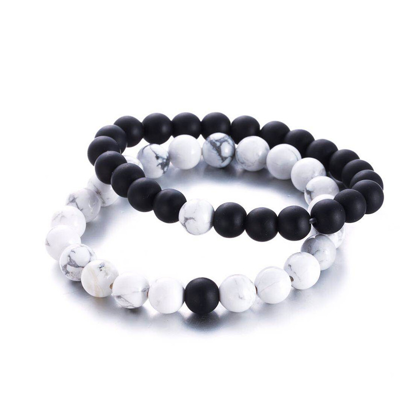 2 Teile/satz Natürliche Stein Schwarz & Weiß Perlen Armbänder Für Männer/frauen Paare Liebe Glück Armbänder Beste Freund Kristall Armband