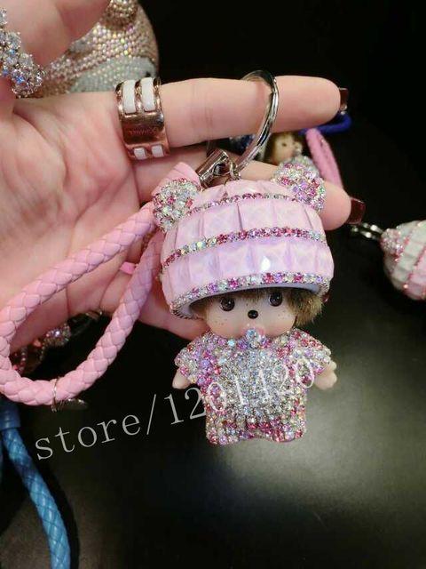 Cute Monchichi Glitter Keychains Monkey Doll Keychain  Bag Charm Car Key Ring leather lanyard baby pink Crystal Monchhichi