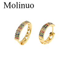 Molinuo latest gold color delicate fashion circle hoop earring gorgeous jewelry colorful cz multi pierced earrings 2019