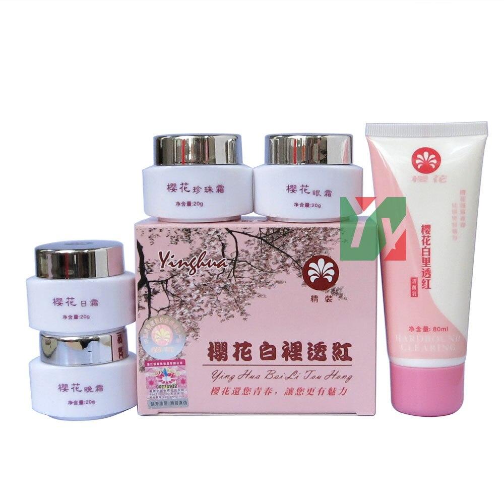wholesale & retail ying hua bai li tou hong whitening in red day+night+pearl+eye cream+ cleanser 5pcs/set