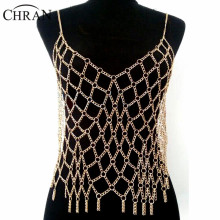 Chran Sexy Full Beach Chain Wear Harness Silver Gold Color Europe Mesh Top Bralette Harness Necklace Belly Dancer Dress Jewelry