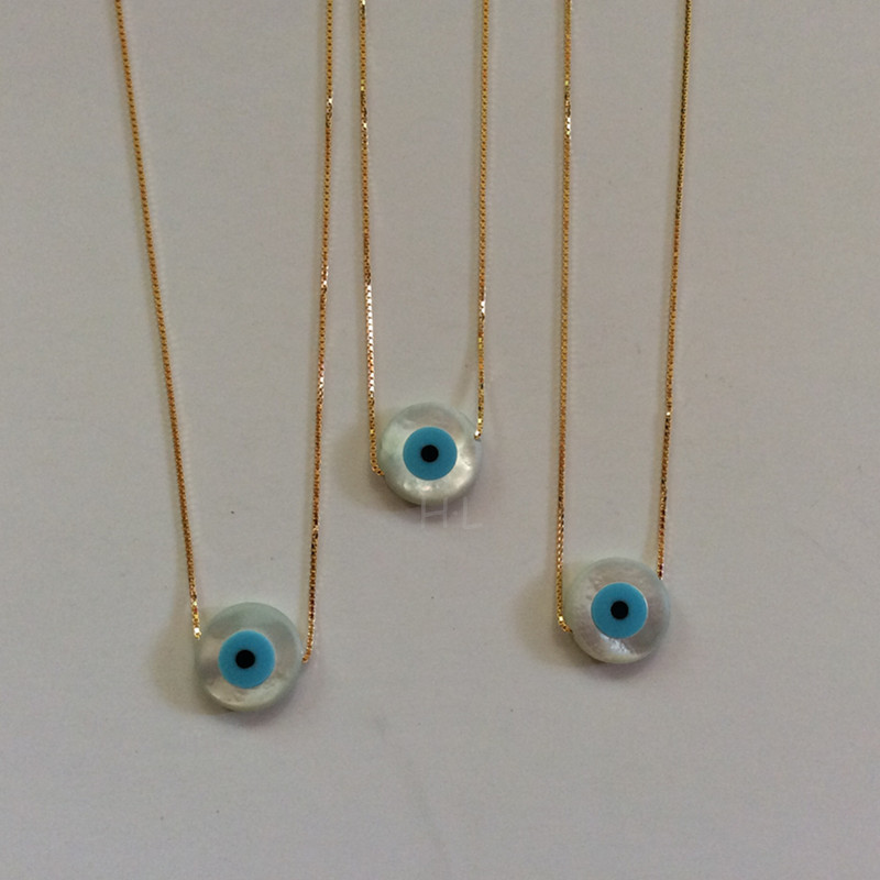 30PCSLot  925 Sterling Silver Necklace  12MM Round Natural MOP Blue Eye  Necklace