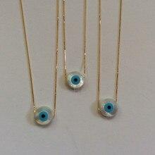 30 шт./партия ожерелье из стерлингового серебра 925 пробы 12 мм круглый натуральный Швабра синий кулон-глаз