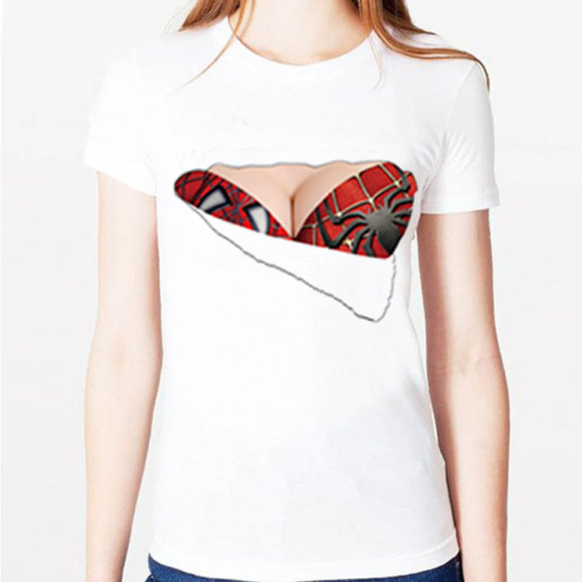 Spiderman Woman T Shirts Torn Bra